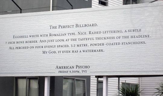 billboard advert for American Psycho